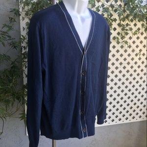 BANANA REPUBLIC Blue Silk Cotton Blend Cardigan XL